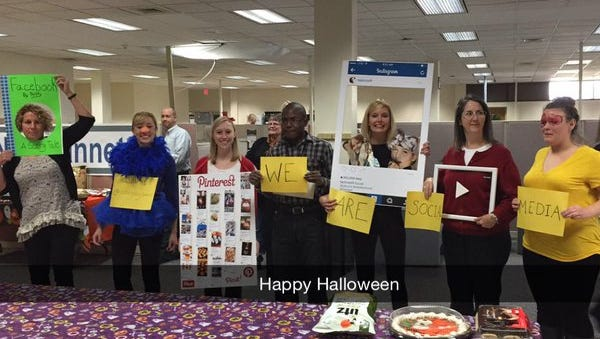 YDR staffers celebrate Halloween by representing different social media sites.