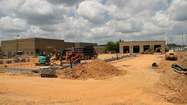 The new performing arts center under construction on the Fairview High School campus.