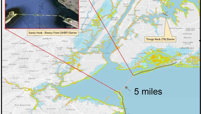 Among the options the U.S. Army Corps of Engineers is considering to protect New Jersey and New York from damaging storm surges is a 5-mile barrier between Sandy Hook and Queens.