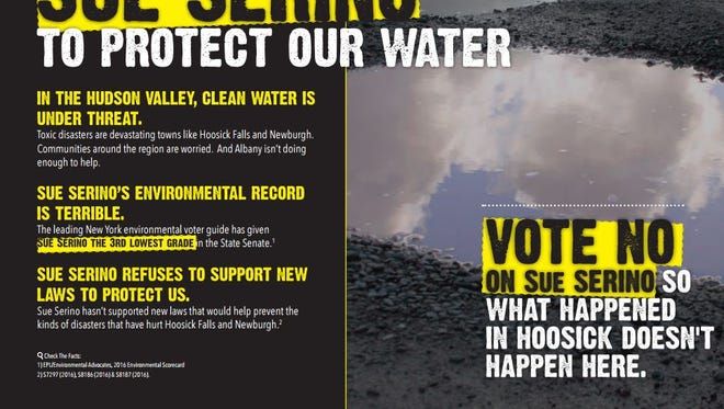 A PAC funded by Airbnb has sent out mailers targeting Sen. Sue Serino, trying to tie her to the Hoosick Falls water crisis.