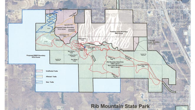 A map of what the proposed Granite Peak Ski Area expansion will look like. The green area represents Rib Mountain State Park. The blue area represents the area that the State Park hopes to add to its acreage. The maroon area represents the additional acreage added to Granite Peak's lease, and the brown area represents Granite Peak's current lease. The trails outline in blue would be added as part of the expansion, the orange trails would be affected during ski season, and the red trails are already existing trails, not affected by the expansion.