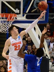 Syracuse forward Tyler Lydon (20) showed good timing and ability to block shots in college. Will that happen in the NBA?