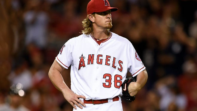 Los Angeles Angels starting pitcher Jered Weaver (36) reacts after allowing a home run to New York Yankees designated hitter Brian McCann (not pictured) during the fifth inning at Angel Stadium of Anaheim on Aug. 19.