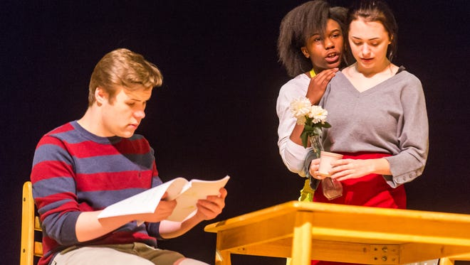 """Sussex Central students work through a dry run of the play """"Under"""" on Tuesday, March 1, in Georgetown."""