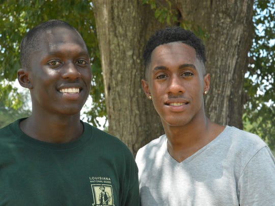 Cadet Demarco Follins (left) says his brother, Deondray Broden of Alexandria, has supported him during his time in the Youth Challenge Program. They spent time together on Family Day at Camp Beauregard on Sunday.