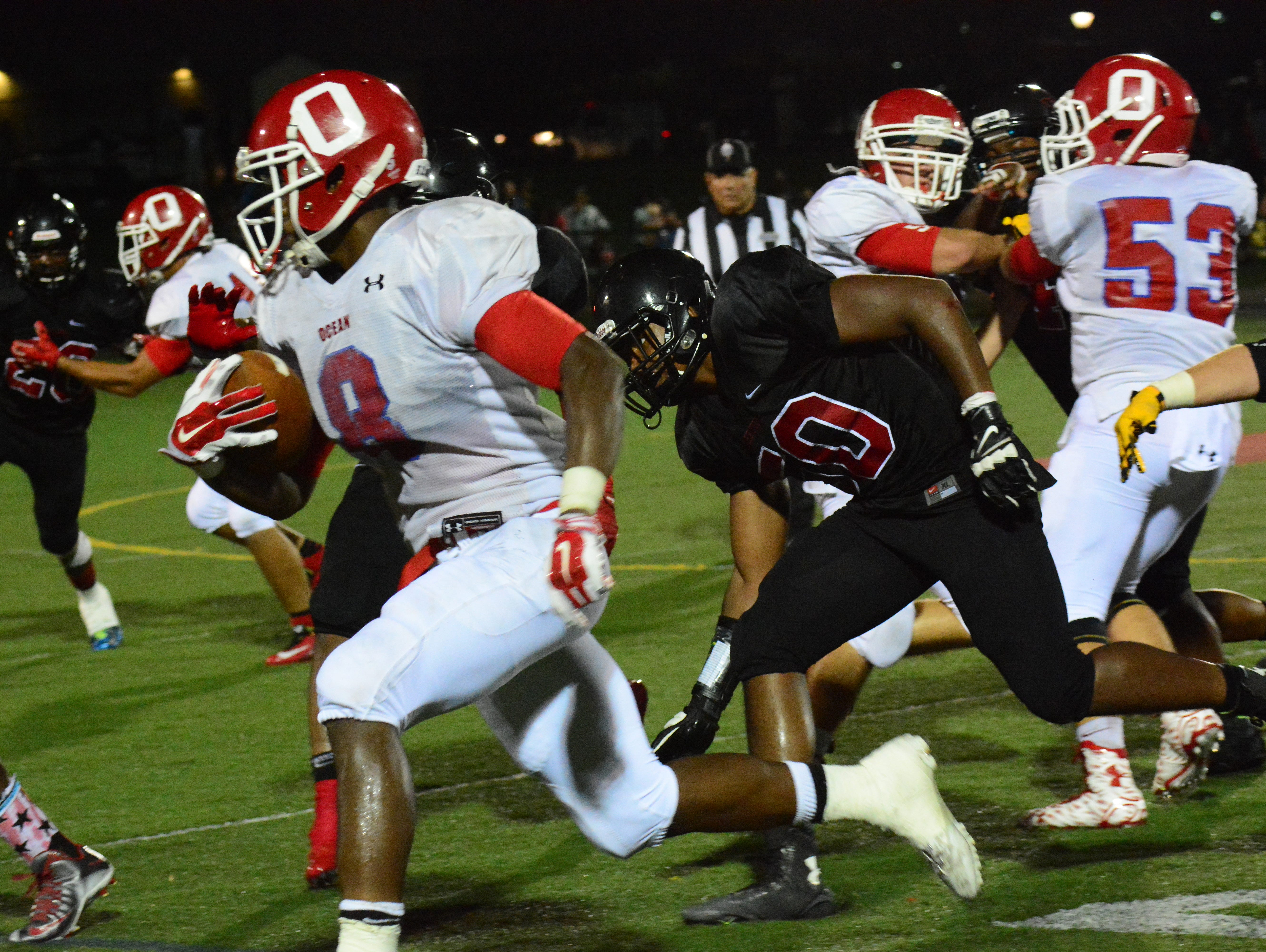 Ocean, led by senior running back Tyler Thompson, moved up one spot to No. 8 in this week's Asbury Park Press Top 10
