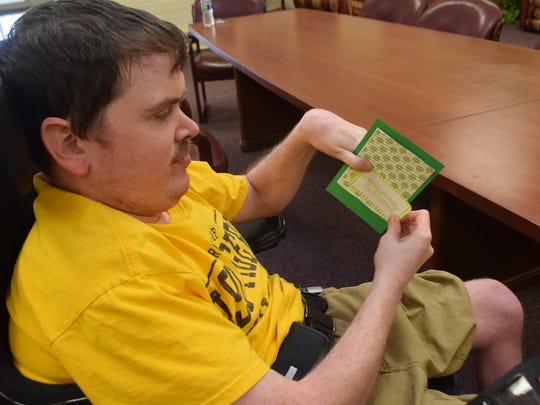 Mike H. is one of the residents at the Louisiana Special Education Center who helped make Christmas cards to sell at the Art Walk this Friday.