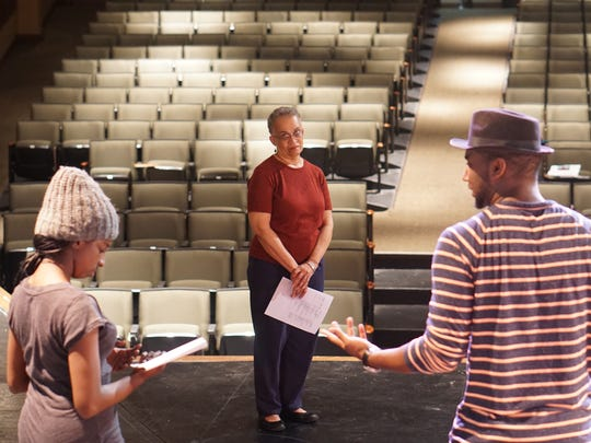 Dr. Beth Turner watching the cast of Blues for an Alabama Sky by Pearl Cleage. From left to right: Simone Curry (Understudy Angel) & Christopher J. Beckford, Jr. (Leland).