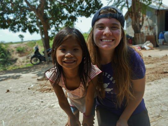 Kean University student Sarah Mack in Cambodia with