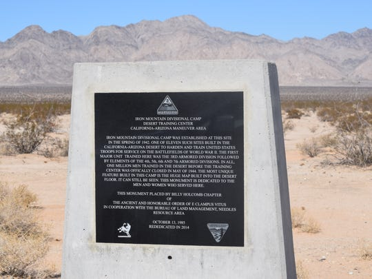 A marker sits at the site of Camp Iron Mountain, one of 13 divisional training camps that operated within the massive Desert Training Center during World War II. Oct. 22, 2015.