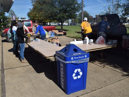 The Recycling Committee at LSUA  was selling hamburgers at the LSUA Quad Thursday to bring attention to recycling on campus.