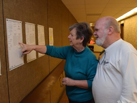 Billy Jones and his wife Joanne Jones look at sample ballots outside the Rapides Parish Registrars of Voter's Ofifiice Friday before going in to cast their ballots.
