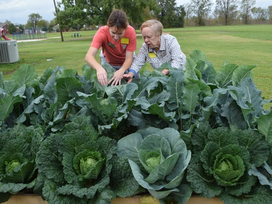 Cindy Baker (left), the community garden manager of The Good Food Project, and Frances Boudreau, director of the the Good Food Project, show the vegetables such as cabbage and broccoli that are growing in the garden at Mabel Brasher Elementary School. Cabbage soup was cooked for students using vegetables students grew in the school garden.