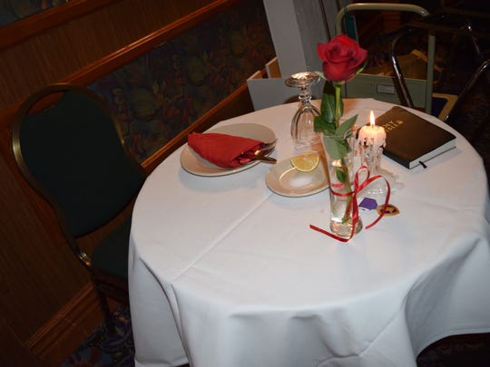 Marine Corps League Cpl. Jason L. Dunham Medal of Honor Detachment hosts 240th birthday celebration of the U.S. Marine Corps at Miracle Springs Resort & Spa in Desert Hot Springs, Nov. 6, 2015. Pictured: A POW/MIA table.