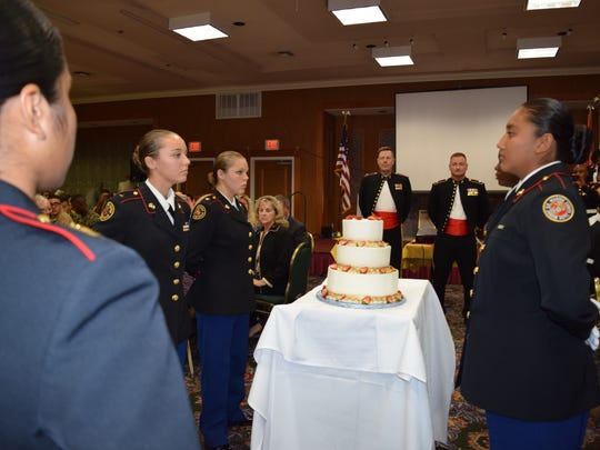 Marine Corps League Cpl. Jason L. Dunham Medal of Honor Detachment hosts 240th birthday celebration of the U.S. Marine Corps at Miracle Springs Resort & Spa in Desert Hot Springs, Nov. 6, 2015. Desert Hot Springs High School Marine Corps Jr. ROTC cadets present the birthday cake.