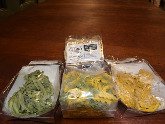 The Clario Farmstead Pasta includes kale peppercorn and Packers game day pasta made with fresh organic eggs and vegetables.