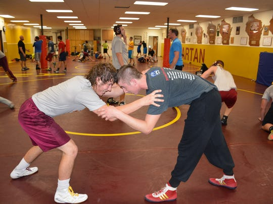 Spartan state qualifers Dalton Smerchek, left, and Cullen Ducat practice for this year's matches.