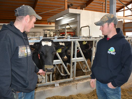 Of Vernon and Betty's eight grandchildren who grew up on the farm, Brian (left) and Kyler are the two who have chosen to continue dairy farming.