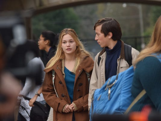 "Actors Olivia Holt (left) and Skyler Gisondo star in the movie ""Class Rank"" which is being filmed in Alexandria. The production crew was at Bolton High School filming scenes for the movie which also included Bolton students."