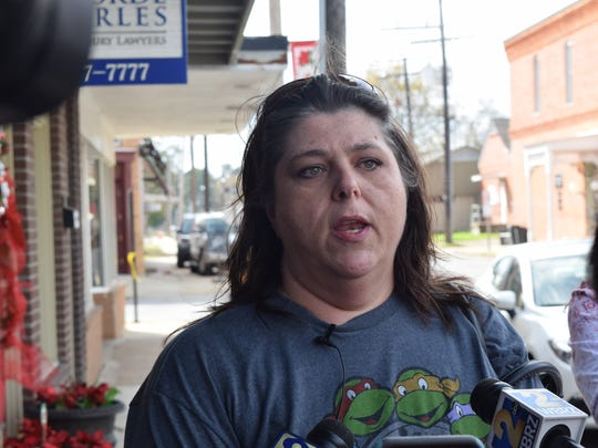 Jeremy Mardis' grandmother, Cathy Mardis addresses the media Thursday in Marksville. Cathy Mardis said she wants the body cam video of her 6-year-old grandson's fatal shooting released so the public knows what happened to him.