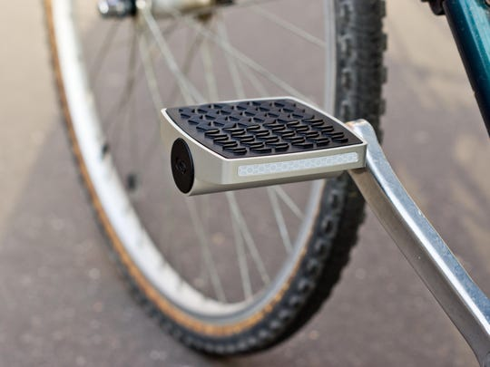 A smart pedal from Connected Cycle tracks your speed and route and does not need to charge.