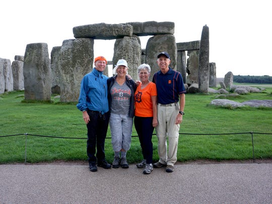 Left to right: Mike Karwowski and Diana Karwowski of Grosse Pointe Woods; Pam Montri and Dave Montri of East Lansing. The couples are on vacation in August 2015 at Stonehenge in the UK.