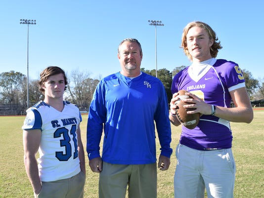 Josh Lucky (left) is the All-Cenla Defensive Player of the Year;  Lee Doty is All-Cenla Coach of the Year and Alexandria Senior High School's Matthew Beck is All-Cenla MVP.