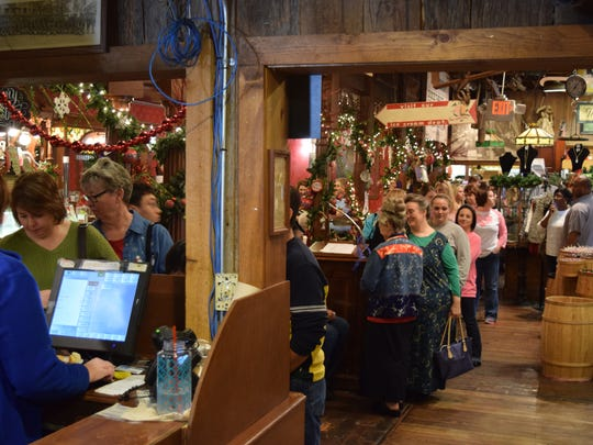 People wait in line at the Old County Store's Christmas