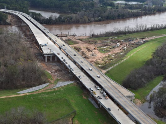Construction continues on the Curtis-Coleman Memorial Bridge which spans the Red River connecting Pineville and Alexandria.