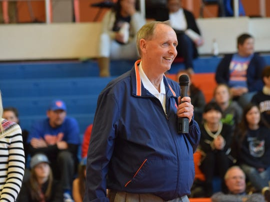 Gene Rushing, former men's basketball coach at Louisiana College, was honored during halftime of a LC Wildcats men's basketball game in 2016.