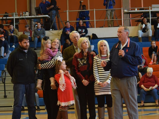 Gene Rushing (far right, former coach of the Louisiana College Wildcats men's basketball team was honored at a ceremony held Saturday. With Rushing are his family members.