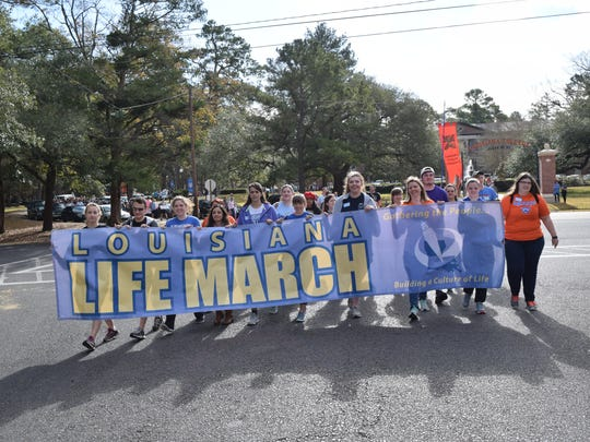 Louisiana College students lead the first Louisiana Life March in Pineville/Alexandria.