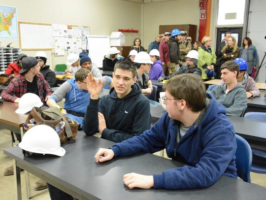 Students in construction trade programs gathered Wednesday