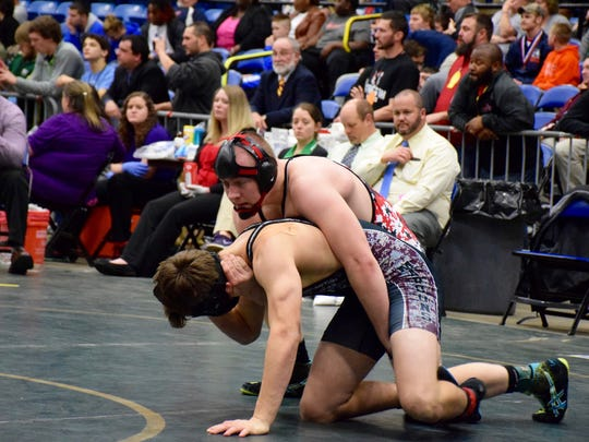 Riverheads' Alex Diehl, top, takes control of George Wythe's Andy Yancey during their 195-pound final Saturday at the Group 1A wrestling championships at the Salem Civic Center. Diehl won the bout 8-5, and with it a state title.