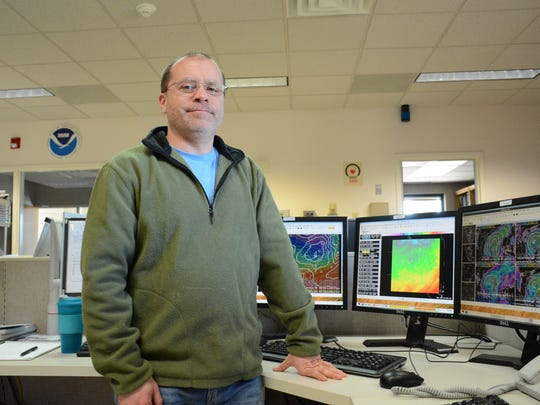 Dan Padavona, 47, originally from Cortland, is now a forecaster for the National Weather Service in Binghamton. He tracked a storm Monday morning moving into the Binghamton area this week.