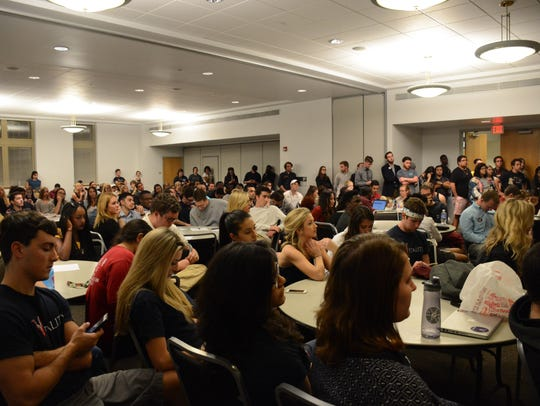The debate took place in front of a crowd of over 300