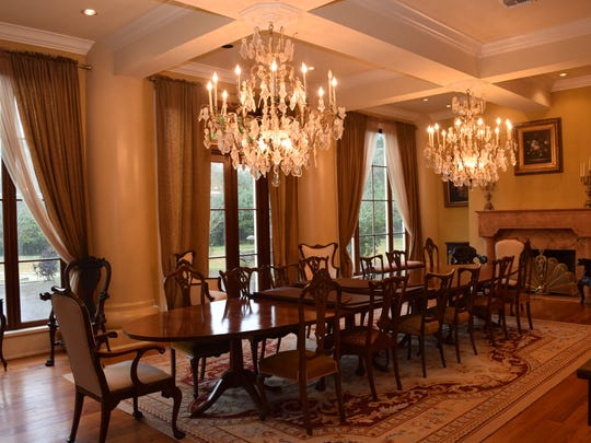 The dining room of the Maison Bonne Vive (ÒThe Good LifeÓ), a 20,000-square-foot home located at 2019 Horseshoe Drive in Alexandria, can seat 16-19 people.