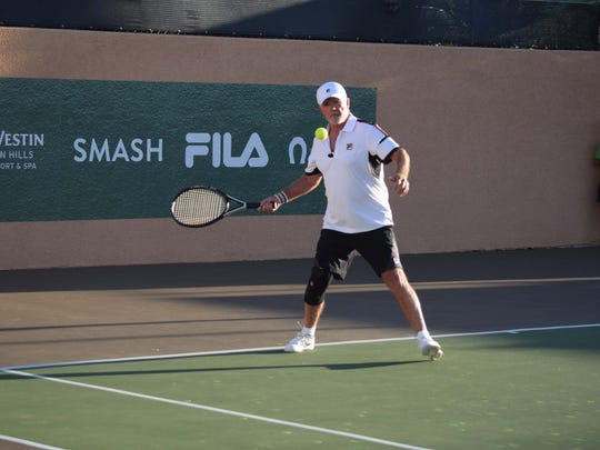Alan Thicke prepares to hit a forehand during a doubles match at the 12th annual Desert Smash, A Charity Celebrity Tennis Event on Tuesday, March 8, 2016 at the Westin Mission Hills Golf Resort and Spa in Rancho Mirage.