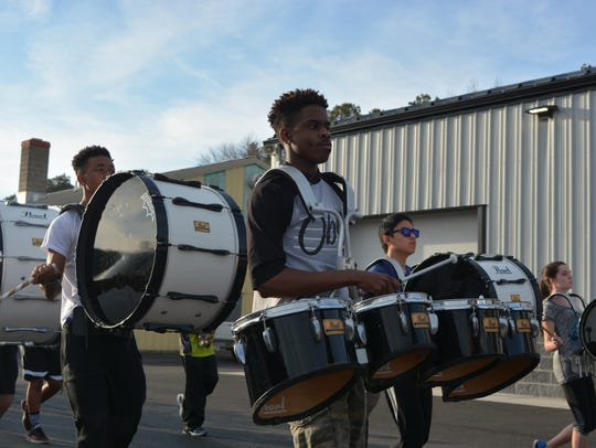 The Sussex Technical High School marching band rehearses
