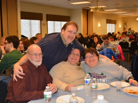 "An all-you-can-eat Pasta Dinner in support of Special Olympics Somerset County, will be held at 5 p.m. April 3. The event, sponsored by the Shimon and Sara Birnbaum JCC, 775 Talamini Road in Bridgewater, is part of the JCC's ""March Mitzvah Madness"" program, raising funds and helping others in the community. Enjoying the JCC's 2015 Pasta Dinner are Russ Rayot, David Rayot, Joanie Rayot and Christina Kaczka."