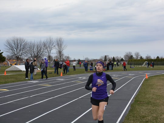 Kewaunee's Amanda VanDenPlas came in first in both the 800m with a time of 2:36 and the 3200m with a time of 13:14 at Tuesday's meet.