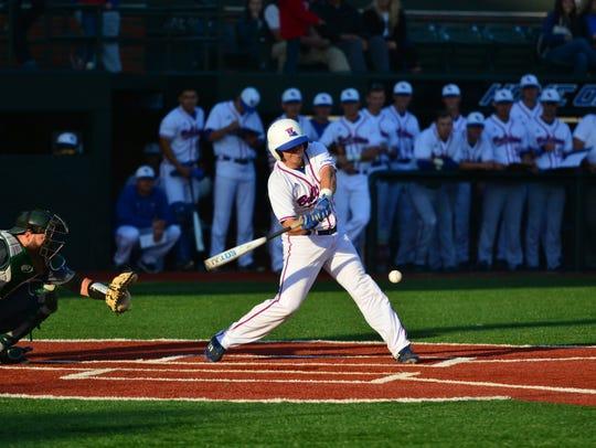 Louisiana Tech designated hitter Jonathan Washam hit