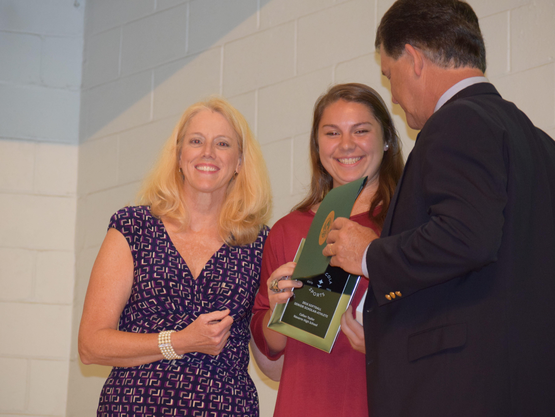 Navarre High's Callan Taylor receives the softball award at Tuesday night's Pensacola Sports Scholar Athlete Awards banquet at Olive Baptist Church.