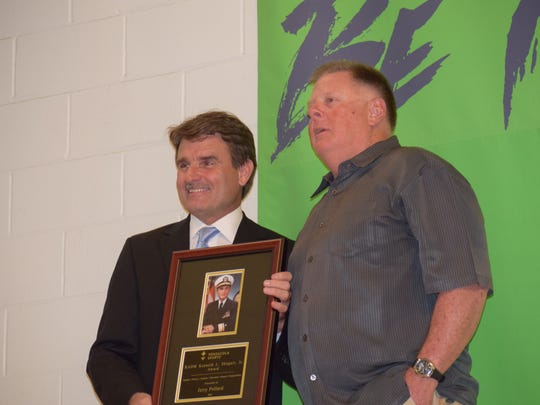 Pine Forest football coach/athletic director receives the RADM Kenneth L. Shugart Jr. Award for his career achievements and positive impact on athletes during Tuesday's Pensacola Sports Scholar Athlete Awards Banquet