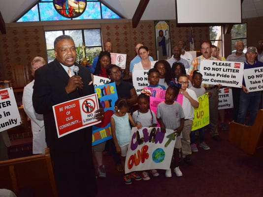 Alexandria City councilman Roosevelt Johnson along with organizers and volunteers announce plans for big cleanups in Alexandria at Newman United Methodist Church.
