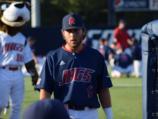 South Alabama's Drew LaBounty, a Catholic grad, shown during May 13 game in Mobile against Louisiana-Lafayette, has overcome injury hardships to become a steady, productive collegiate player.