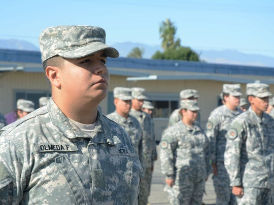 Junior Francisco Olmeda, left, is the battalion commander at the Riverside County Education Academy in Indio. He was one of the original eight students at the school and quickly stepped up to the top leadership spot.