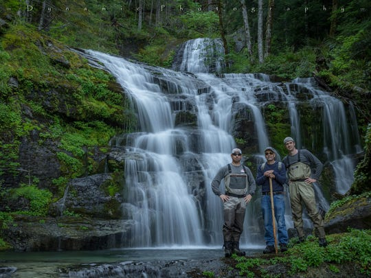 Jeff Green, Mark Drawson and Zach Urness below Mark Falls in the Family Falls area of waterfalls.