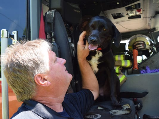Nitro (right), likes to sit in the front passenger's seat once the firefighters are out of the truck. Sometimes Nitro, a search and rescue dog that belongs to Alexandria Fireman Jeff Tarver (left), sits in the driver's seat as well. He has his spot in the fire truck where he rides when they are out on a call.