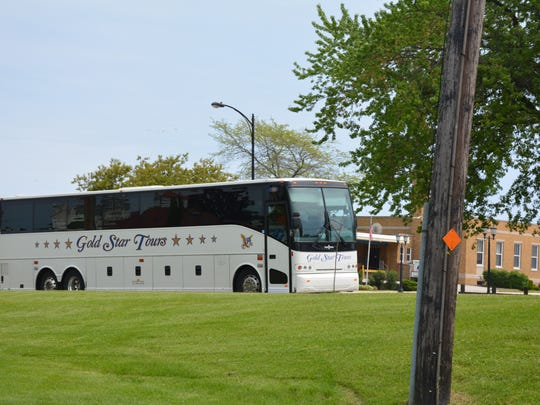 A tour bus brought visitors  to the Tug Ludington in Kewaunee Tuesday.